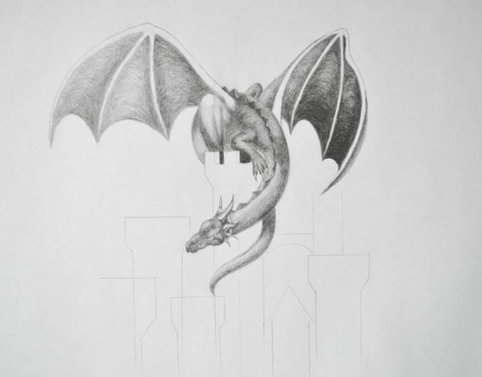 рисовать дракона карандашом