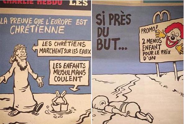 Charlie Hebdo карикатура на утонувшего сирийского мальчика