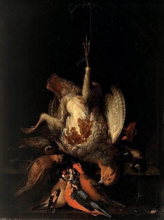 Натюрморт с битой куропаткой и другой птицей в каменной нише