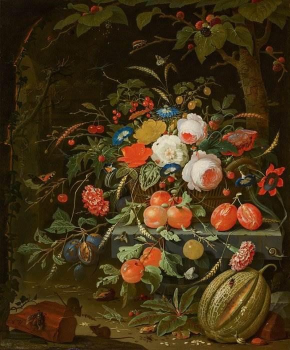 Цветочный натюрморт с мышами и насекомыми