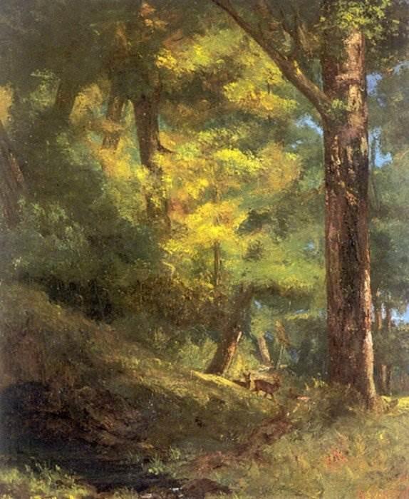 Гюстав Курбе - Две косули в лесу