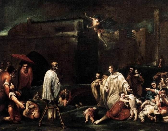 Святой Бернардо Толомеи в Сиене во время чумы