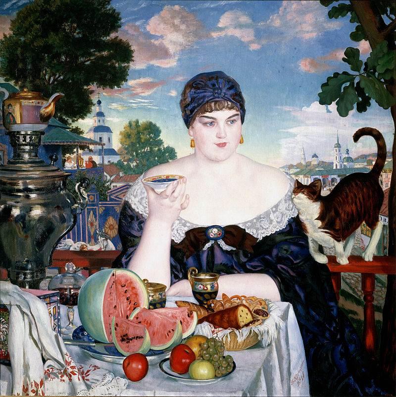 Купчиха за чаем картина Кустодиева