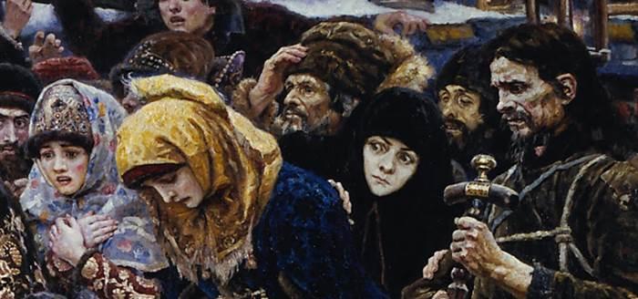 Фрагмент картина Боярыня Морозова картина Сурикова