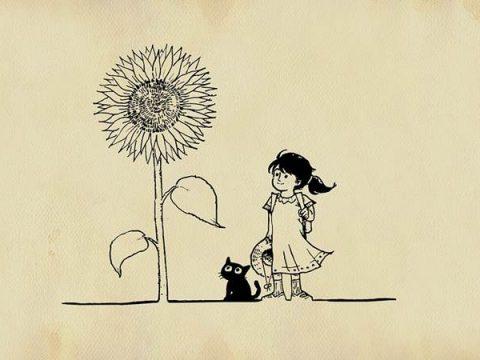 Девочка с кошкой рисунок