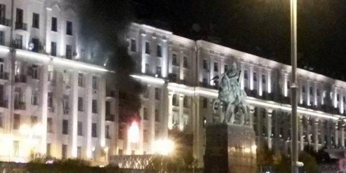 Пожар на Тверской улице в Москве 4.09.2018 фото и видео