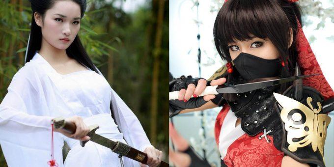 Красивые девушки в образе ниндзя