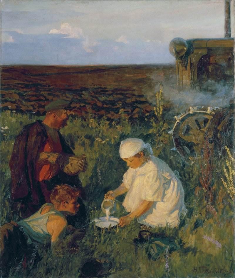 Аркадий Пластов картина Ужин трактористов