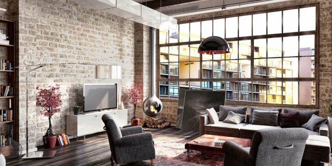 Дизайн квартиры в стиле лофт красивые фото