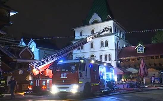 Пожар в Измайловском кремле фото