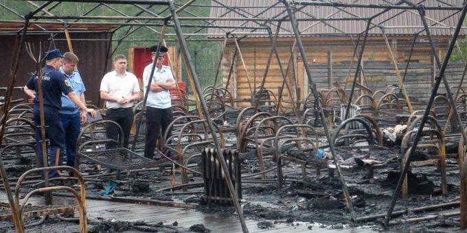 Пожар в палаточном лагере Холдоми фото и видео