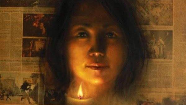 Художница Shin Young - портреты на газете