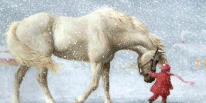 Новогодние открытки на 2014 год лошади