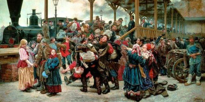 «На войну» картина К. А. Савицкого