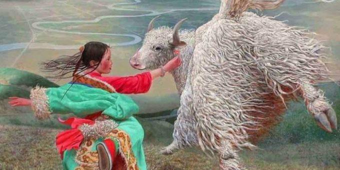 Китайский художник Wang Yi Guang - летающий дух Тибета