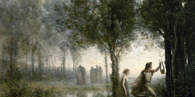 Картина «Орфей, ведущий Эвредику через подземный мир» Жан Батист Камиль Коро