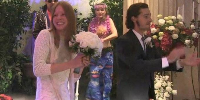 Шайа Лабаф женился на актрисе Миа Гот фото