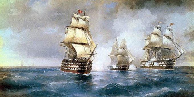 Бриг «Меркурий», атакованный двумя турецкими кораблями Айвазовский