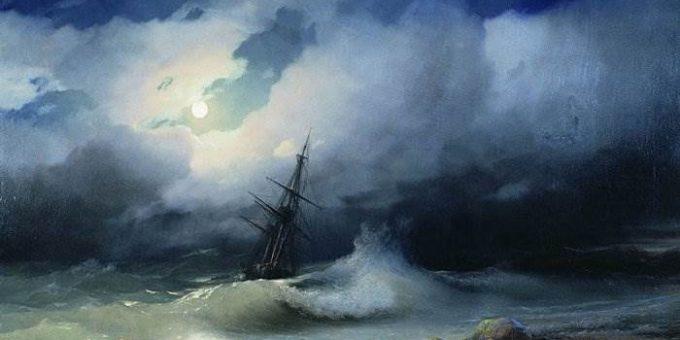 Бурное море ночью картина Айвазовского