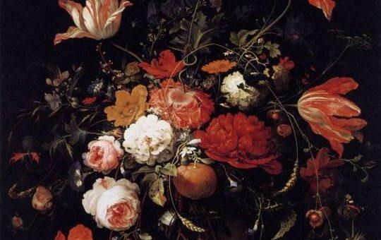 Стеклянная ваза с цветами и оранжевым плодом на веточке - Абрахам Миньон