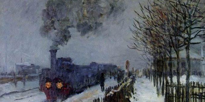 Поезд в снегу, локомотив - Клод Моне