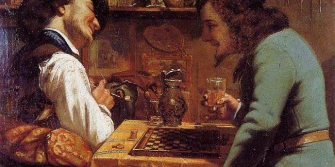 Игра в шашки - Гюстав Курбе