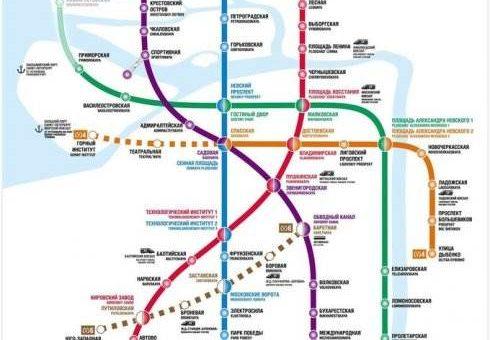 Схема метро СПб с новыми станциями