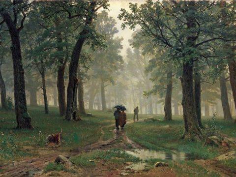 Дождь в дубовом картина Ивана Шишкина