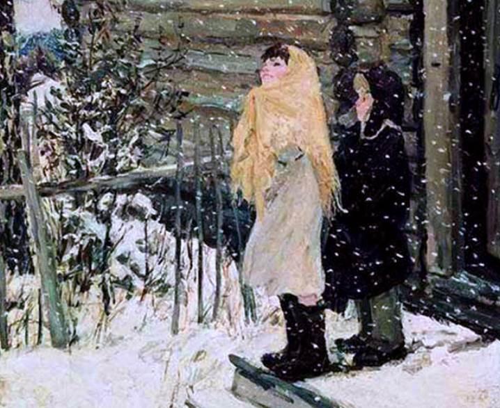 Пластов Первый снег фрагмент картины
