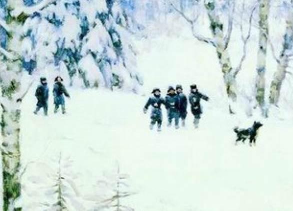 Русская зима. Лигачево фрагмент картины