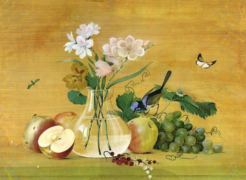 Цветы, фрукты, птица картина Ф. Толстого
