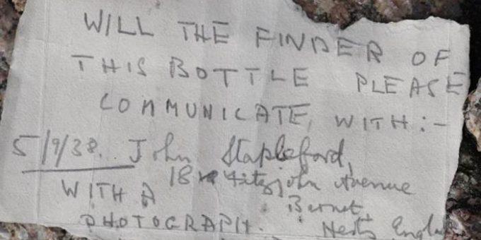 Выброшенная на берег бутылка с посланием путешествовала по морю 82 года