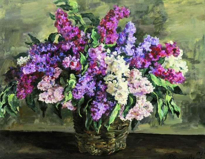 Кончаловский картина Сирень в корзине