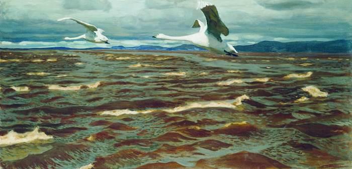 Лебеди над Камой картина Рылова