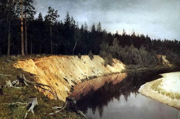 Картина Лесистый берег Левитан