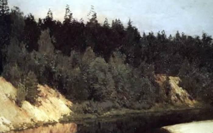 Лесистый берег фрагмент картины