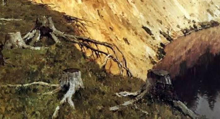 Лесистый берег Левитан фрагмент картины