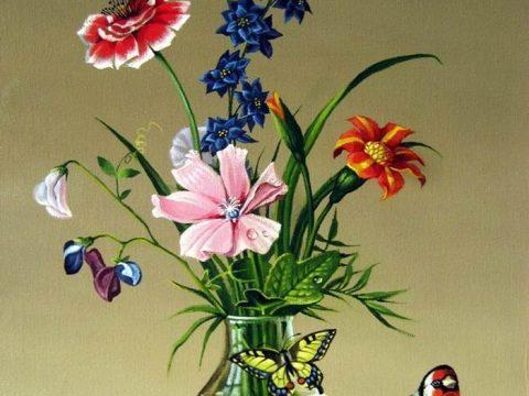 Картина Толстого Букет цветов, бабочка и птичка