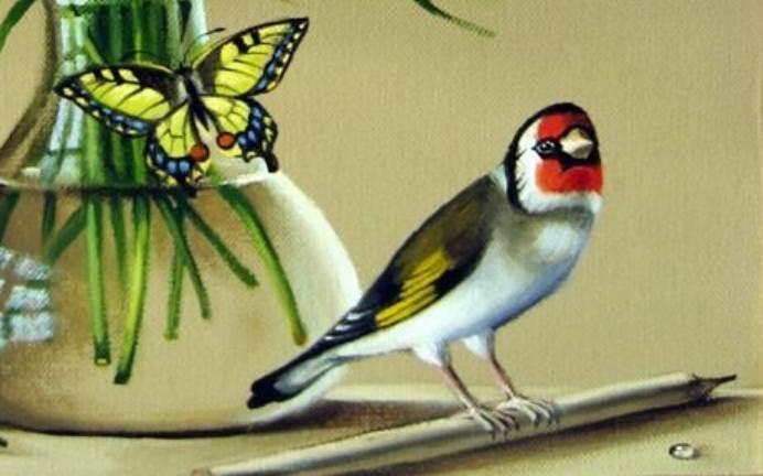 Фрагмент картины Букет цветов, бабочка и птичка
