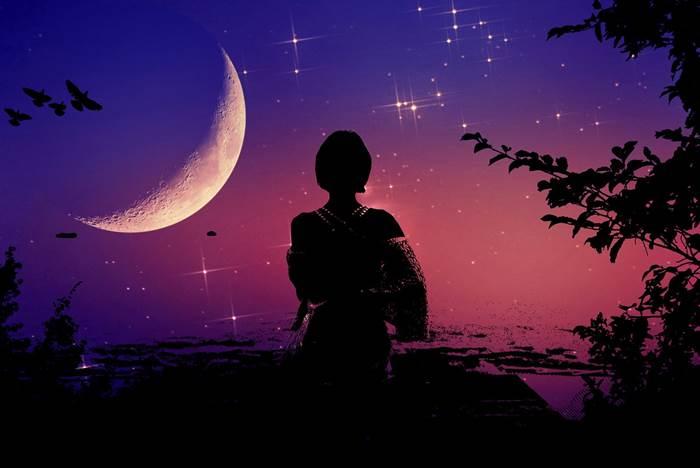 Женский силуэт, лунная ночь