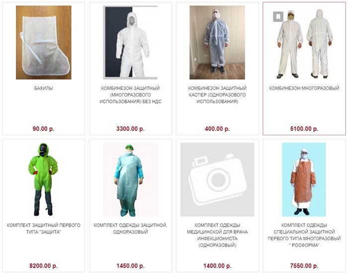 Противочумные костюмы каталог