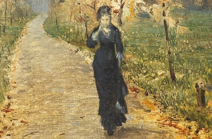 Фрагмент картины Левитана Осенний день. Сокольники