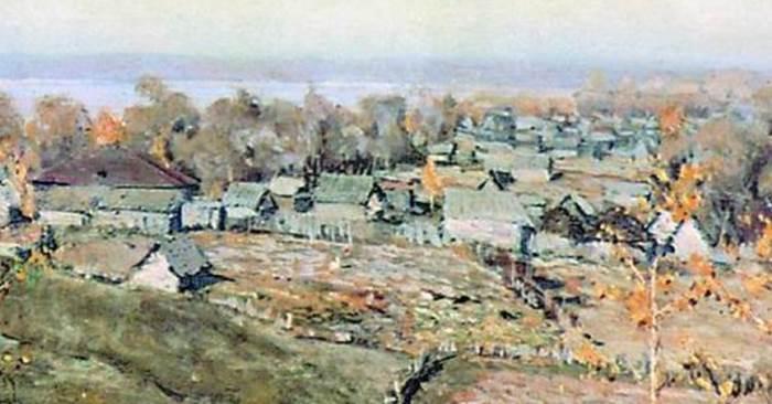 Фрагмент картины Село Хмелевка Ромадина