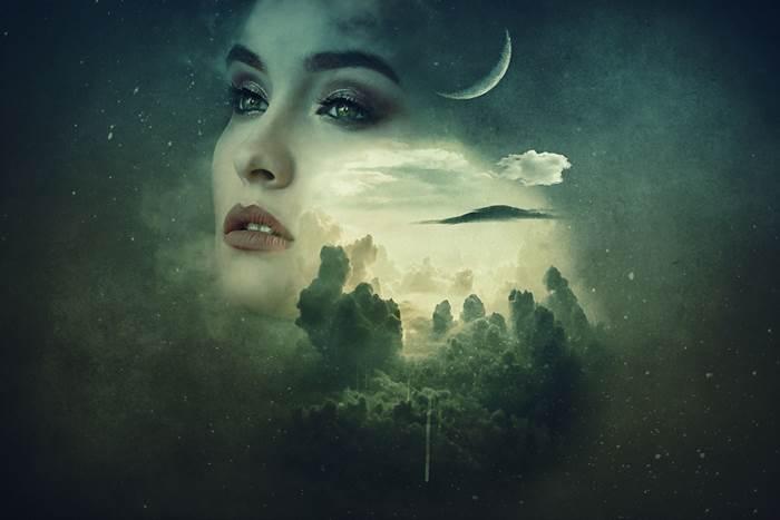 Красивая девушка и Луна