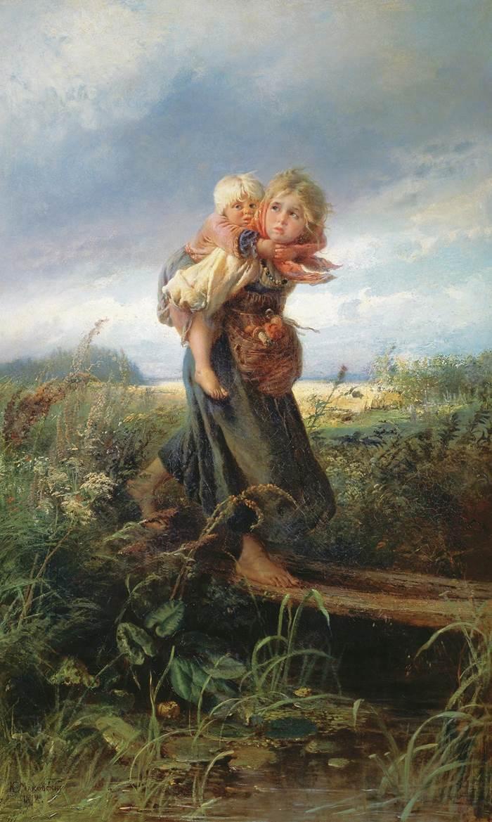 Дети, бегущие от грозы картина Константина Маковского