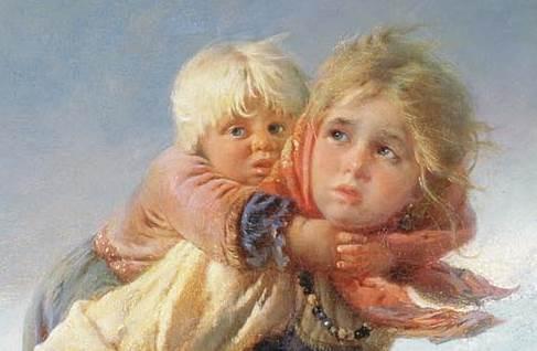 Фрагмент картины Дети, бегущие от грозы Маковского