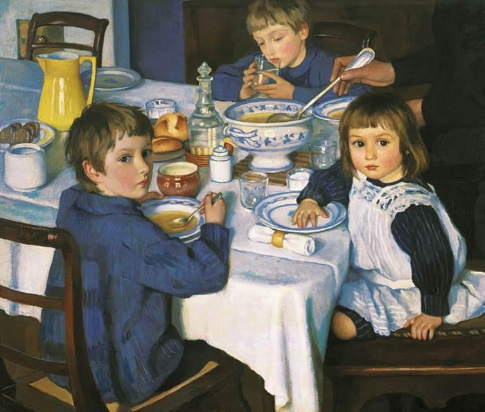 За обедом картина Серебряковой